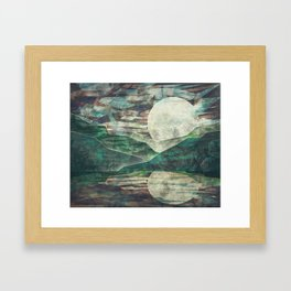 Moon Child Mountain and Lake at Night Framed Art Print