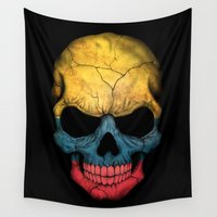 colombia Wall Tapestries featuring Dark Skull with Flag of Colombia by Jeff Bartels