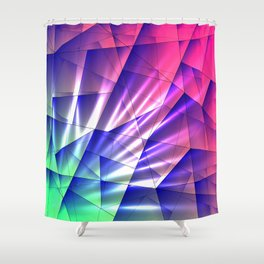 Bright glare of crystals on irregularly shaped blue and violet triangles. Shower Curtain