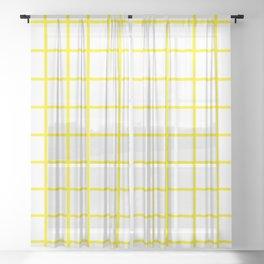 Yellow Grid Pattern Sheer Curtain