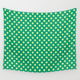 Emerald Green With Yellow Polka Dots Wall Tapestry