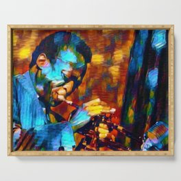 The Genius of Miles - African American Jazz Trumpeter portrait Serving Tray