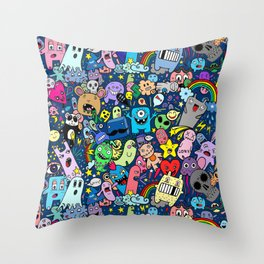 Doodle Monsters Party Night Throw Pillow