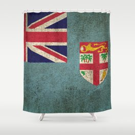 Old and Worn Distressed Vintage Flag of Fiji Shower Curtain