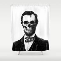 lincoln Shower Curtains featuring Abraham Lincoln by Motohiro NEZU