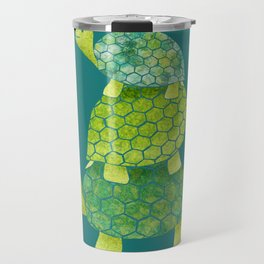 Turtle Stack Family in Teal and Lime Green Travel Mug