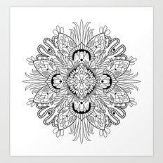 Flowery Mandala Art Print