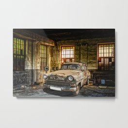 Old Car in a Garage Metal Print