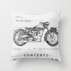 Vintage Triumph Thunderbird Motorcycle Throw Pillow