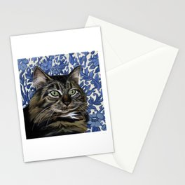 Mooney the cat on a blue flower chair Stationery Cards