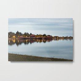 Dawn at Lake Palic, Serbia / Blue / Night Metal Print