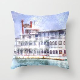 New Orleans Paddle Steamer Art Throw Pillow