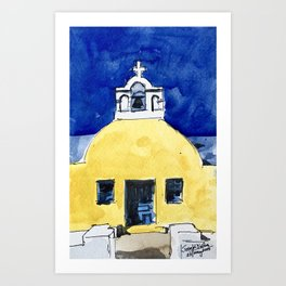 Santorini Yellow Chapel Greece Art Print