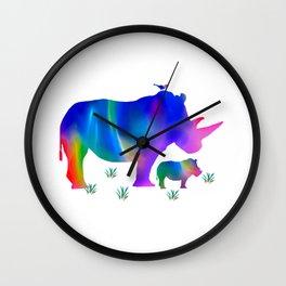 Rainbow Rhino mom and baby Wall Clock