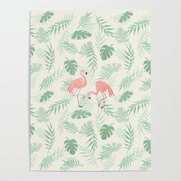 Flamingo Love Tropical Poster