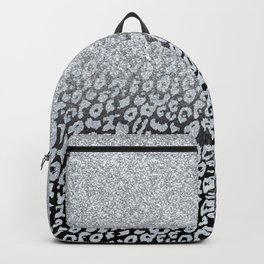 Silver Glitter Leopard Ombre Black Print Backpack