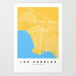 Los Angeles Map | California | United States | Yellow Color Art Print