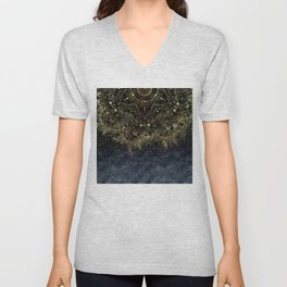 Stylish Gold floral mandala and confetti Unisex V-Neck