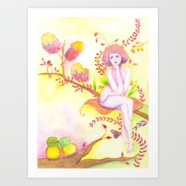 Women thinking and two little birds Art Print
