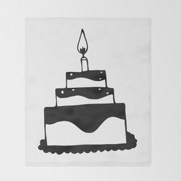Monochrome birthday cake Throw Blanket