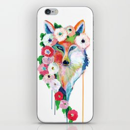 Fox and Flowers iPhone Skin