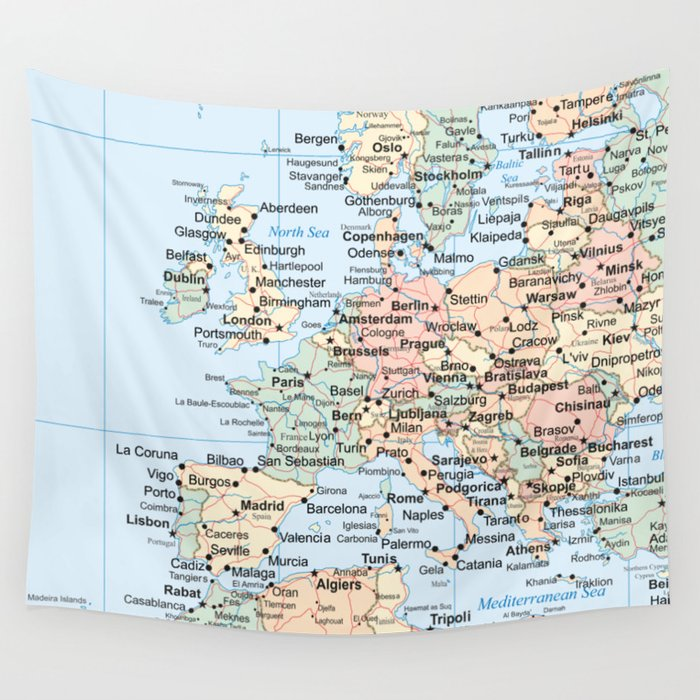 World Map Europe Wall Tapestry by artprink
