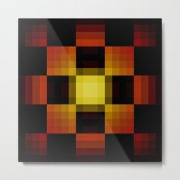 Vantoase - Dark Symmetric Pixel Patchwork Pattern Metal Print