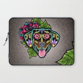 Doberman with Floppy Ears - Day of the Dead Sugar Skull Dog Laptop Sleeve