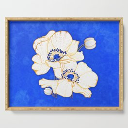 Ultramarine Blue :: Anemones Serving Tray