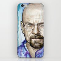walter white iPhone & iPod Skins featuring Walter White Portrait by Olechka