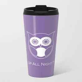 Up All Night? Cute Retro Owl and Roses Metal Travel Mug