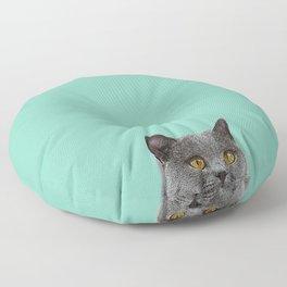 Duck Egg Blue British Short-hair Wall Decor Cat Clock Floor Pillow