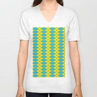yellow pattern V-neck T-shirts featuring Pattern KUKI,yellow by MehrFarbeimLeben