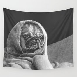 "Black and white puppers ""Grumpy"" Wall Tapestry"