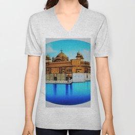 Classical Masterpiece 1825 Sri Harimandir Sahib - Golden Temple, Amritsar, India - Artist Unknown Unisex V-Neck