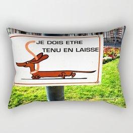 Rennes, France Dachshund Leash Sign in Park Rectangular Pillow