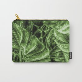 Painted Green Monstera palm leaves by Brian Vegas Carry-All Pouch