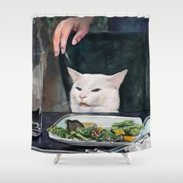 Woman Yelling at Cat Meme-2 Shower Curtain