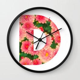Pink Floral D Wall Clock
