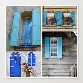 Blue Shutters at Work Canvas Print