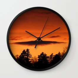 Sunset Dark Orange Color #decor #society6 Wall Clock