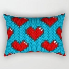 Knitted heart pattern - blue Rectangular Pillow