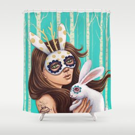 Jackalope and Bunny Shower Curtain
