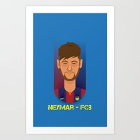 neymar Art Prints featuring Neymar Barcelona by Sport_Designs