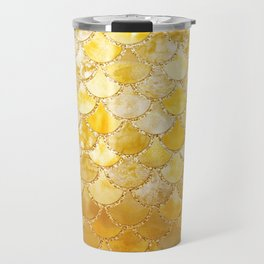 Sunny Gold Colorful Watercolor Trendy Glitter Mermaid Scales Travel Mug