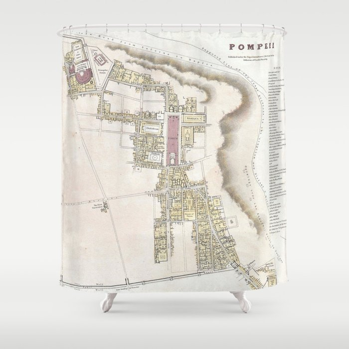 Where Is Pompeii On A Map Of Italy.Vintage Map Of Pompeii Italy 1832 Shower Curtain By Bravuramedia