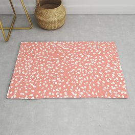 Coral and white minimal painted dots pattern dotty print decor for minimal home office dorm college Rug