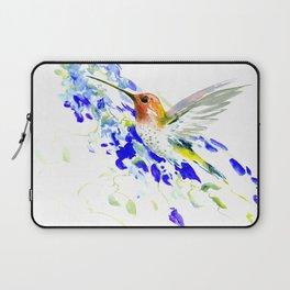 Hummingbird and Blue Flowers Laptop Sleeve