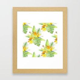 watercolor seamless pattern bird of paradise Framed Art Print