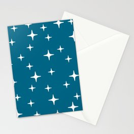 Mid Century Modern Star Pattern 443 Peacock Blue Stationery Cards